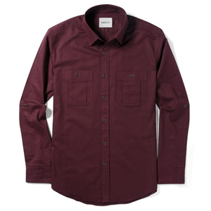 Fixer Two Pocket Men's Utility Shirt In Dark Burgundy Cotton Slub Twill