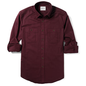 Fixer Two Pocket Men's Utility Shirt In Dark Burgundy Cotton Slub Twill With Sleeves Rolled Up