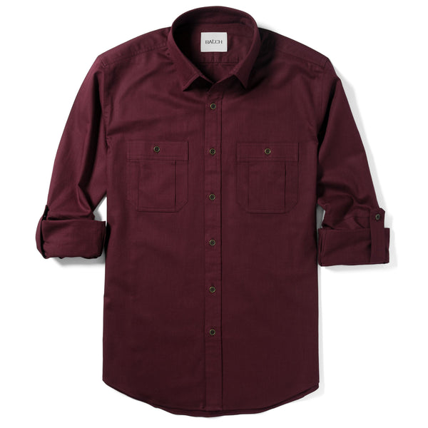 Fixer Utility Shirt – Dark Burgundy Slub Twill