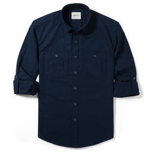 Fixer Two Pocket Men's Utility Shirt In Dark Navy Cotton Slub Twill With Sleeves Rolled Up