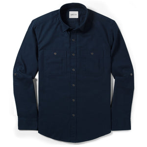 Fixer Two Pocket Men's Utility Shirt In Dark Navy Cotton Slub Twill
