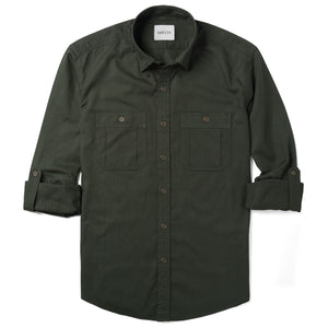 Fixer Two Pocket Men's Utility Shirt In Olive Green Cotton Slub Twill With Sleeves Rolled Up