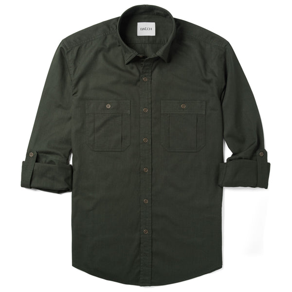 Fixer Utility Shirt – Olive Green Slub Twill