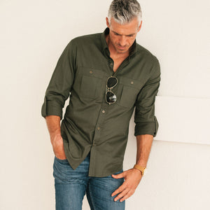 Fixer Two Pocket Men's Utility Shirt In Olive Green Cotton Slub Twill On Body