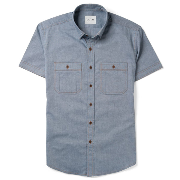Fixer Short Sleeve Utility Shirt – Navy Blue Cotton Oxford