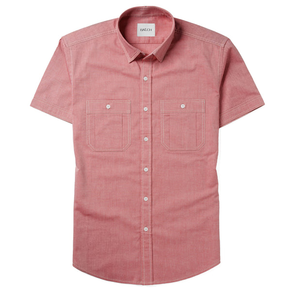 Fixer Short Sleeve Utility Shirt – True Red Cotton Oxford