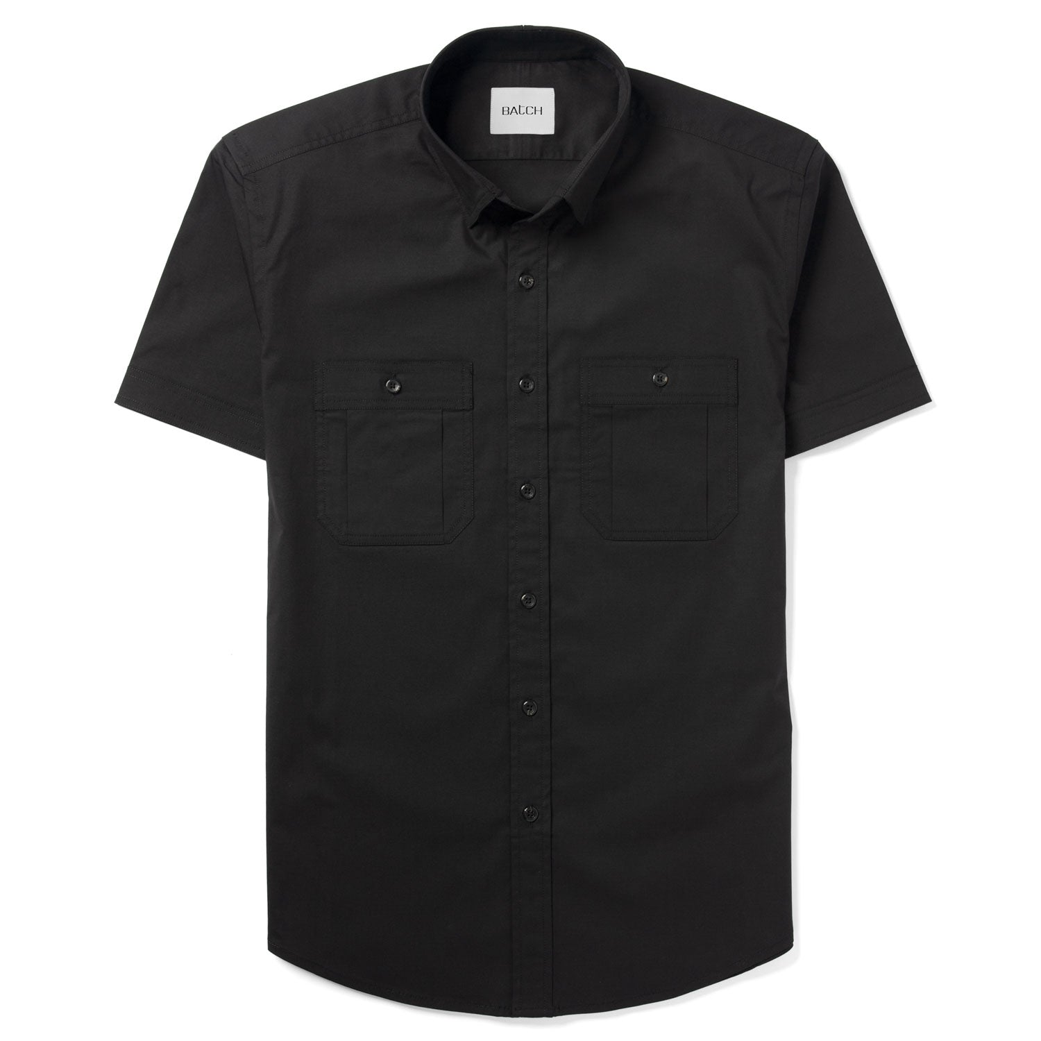 Fixer Short Sleeve Utility Shirt – Black Stretch Poplin