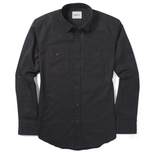 Fixer Two Pocket Men's Utility Shirt In Jet Black Cotton Slub Twill