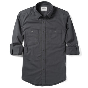 Fixer Two Pocket Men's Utility Shirt In Slate Gray Cotton Slub Twill With Sleeves Rolled Up