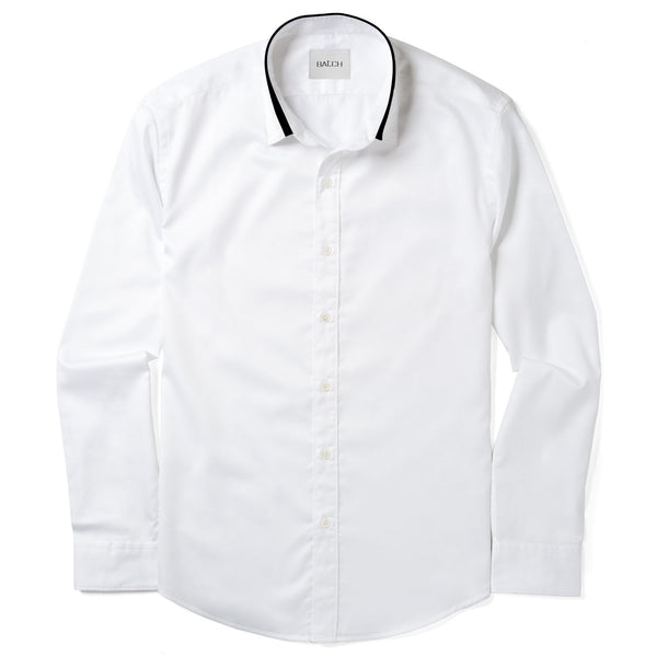 White / Navy Iconic Spread Collar Shirt