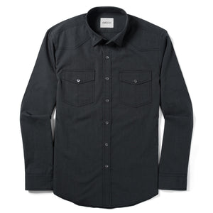 Maker Two Pocket Men's Utility Shirt In Asphalt Gray Cotton End-On-End