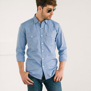 Maker-Classic-Blue-Oxford.jpg 1500 × 1500px Maker Two Pocket Men's Utility Shirt In Classic Blue Cotton Oxford On Body