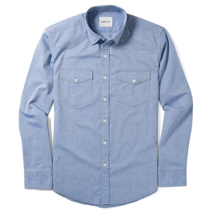 Maker Two Pocket Men's Utility Shirt In Classic Blue Cotton Oxford