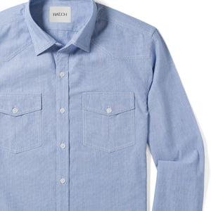 Maker Two Pocket Men's Utility Shirt In Clean Blue Cotton End-On-End Close-Up Image