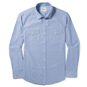 Maker Two Pocket Men's Utility Shirt In Clean Blue Cotton End-On-End