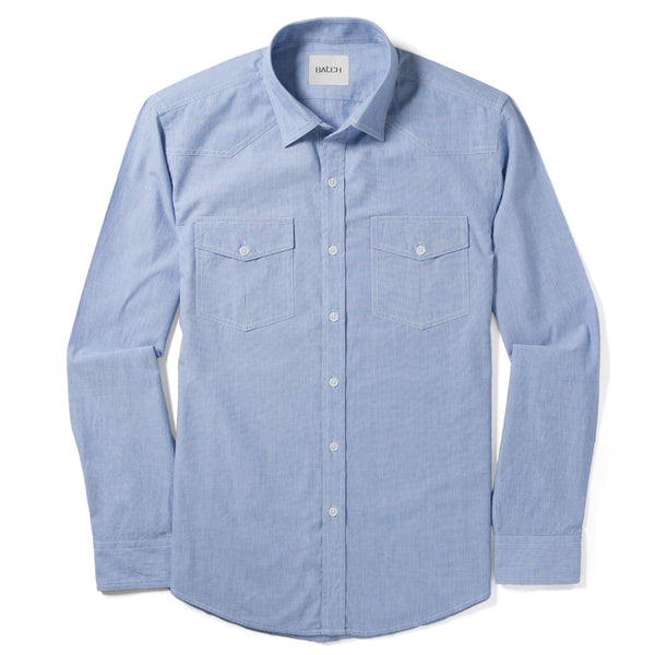 Maker Utility Shirt – Clean Blue End-on-End