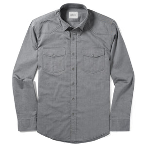 Maker Two Pocket Men's Utility Shirt In Smoke Gray Cotton Oxford