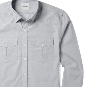 Maker Two Pocket Men's Utility Shirt In Aluminum Gray Cotton End-On-End Close-Up Image
