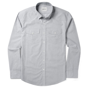 Maker Two Pocket Men's Utility Shirt In Aluminum Gray Cotton End-On-End