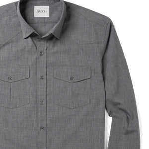 Maker Two Pocket Men's Utility Shirt In Titanium Gray Cotton End-On-End Close-Up Image