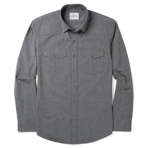 Maker Two Pocket Men's Utility Shirt In Titanium Gray Cotton End-On-End
