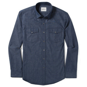 Maker Two Pocket Men's Utility Shirt In Navy Cotton End-On-End