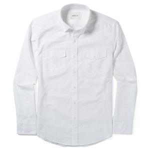 Maker Two Pocket Men's Utility Shirt In Clean White Cotton Oxford