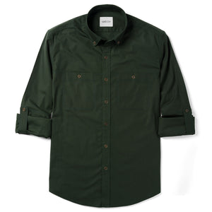 Batch Mechanic Casual Shirt Green 2 Pocket Rolled Sleeves Image