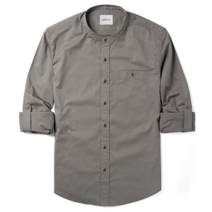Mechanic One Pocket Band-Collar Men's Casual Shirt In City Gray Stretch Cotton Twill With Sleeves Rolled Up