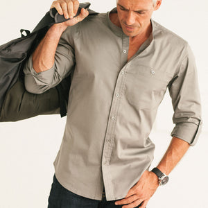 Mechanic Band-Collar Casual Shirt - City Gray Stretch Cotton Twill