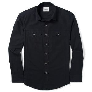 Operator Two Pocket Men's Utility Shirt In Black Cotton Canvas