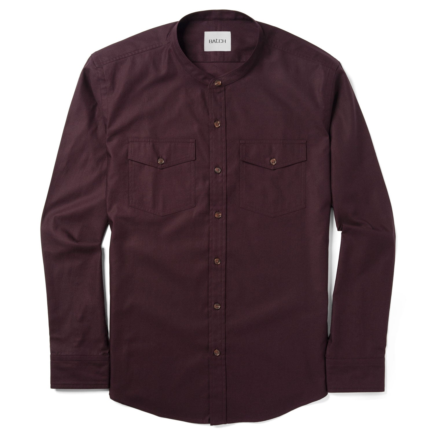 Pioneer Band Collar Utility Shirt – Dark Burgundy Mercerized Cotton
