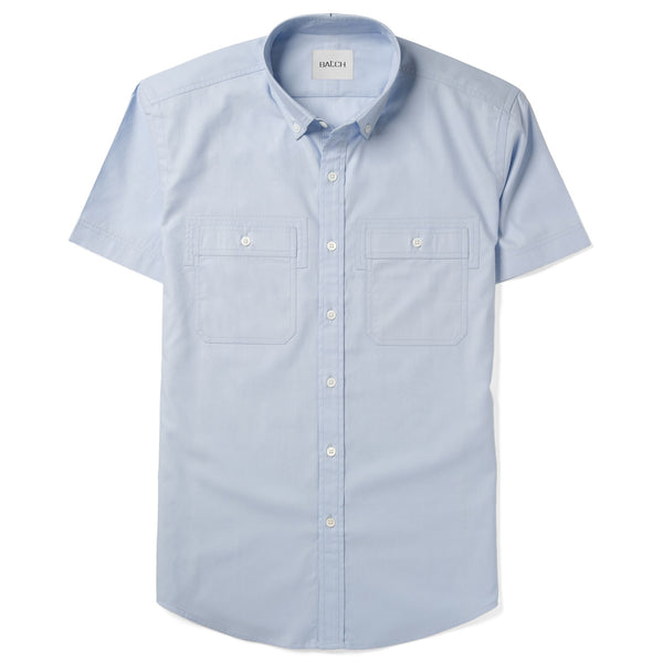 Rogue Short Sleeve Casual Shirt – Cloud Blue Mercerized Cotton