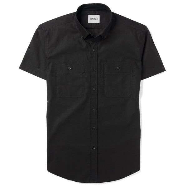 Rogue Short Sleeve Casual Shirt – Jet Black Mercerized Cotton