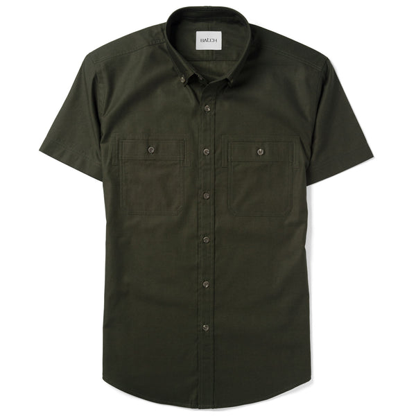 Rogue Short Sleeve Casual Shirt – Olive Green Mercerized Cotton