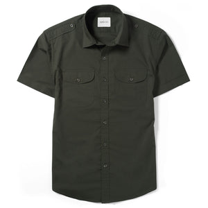 Scout Two Pocket Short Sleeve Men's Utility Shirt In Dark Olive Green Cotton Poplin