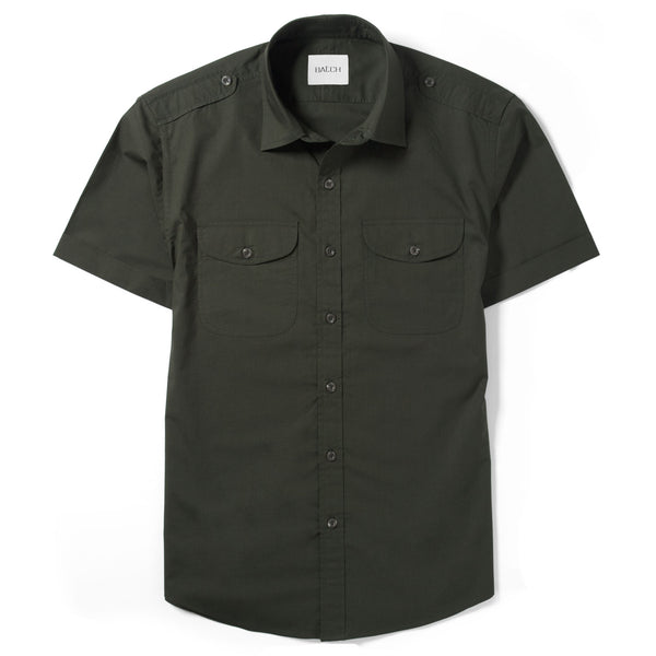 Scout Short Sleeve Utility Shirt – Dark Olive Green Poplin