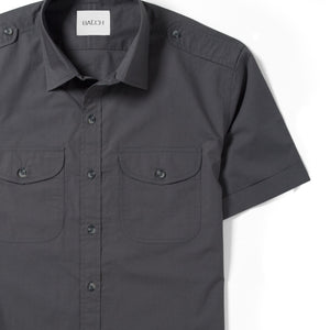 Scout Two Pocket Short Sleeve Men's Utility Shirt In Slate Gray Cotton Poplin Close-Up Image