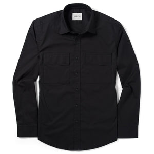 Specialist Two Pocket Men's Utility Shirt In Jet Black Cotton Poplin