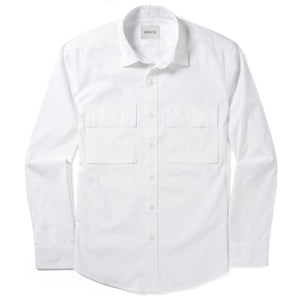 Specialist Two Pocket Men's Utility Shirt In Pure White Cotton Poplin