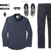 Maker Two Pocket Men's Utility Shirt In Navy Ways To Wear With Dark Denim