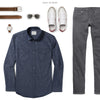 Maker Two Pocket Men's Utility Shirt In Navy Ways To Wear With Gray Denim