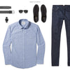 Maker Two Pocket Men's Utility Shirt In Clean Blue Ways To Wear With Dark Denim