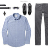 Maker Two Pocket Men's Utility Shirt In Clean Blue Ways To Wear With Gray Denim