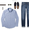 Maker Two Pocket Men's Utility Shirt In Clean Blue Ways To Wear With Medium Denim