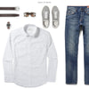 Maker Two Pocket Men's Utility Shirt In Clean White Ways To Wear With Medium Denim
