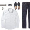 Maker Two Pocket Men's Utility Shirt In Clean White Ways To Wear With Dark Denim