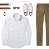Maker Two Pocket Men's Utility Shirt In Clean White Ways To Wear With Chinos