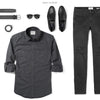 Fixer Two Pocket Men's Utility Shirt In Slate Gray Ways To Wear With Black Denim