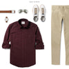 Fixer Two Pocket Men's Utility Shirt In Dark Burgundy Ways To Wear With Khaki Chinos